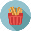 chips, food, french fries, fries, fries bucket icon
