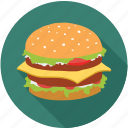 burger, chicken burger, colored burger, fast food, food, large burger, mighty burger icon