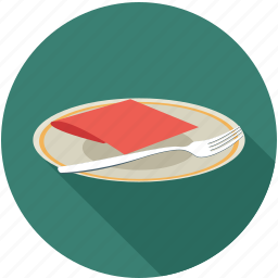 food, fork in plate, plate icon