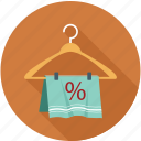 hanger, percentage, sale, towel, towel on hanger icon