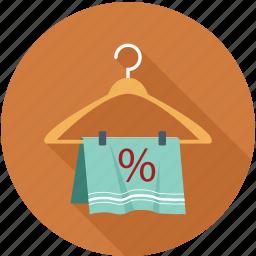 hanger, percentage, sale, towel, towel on hanger icon