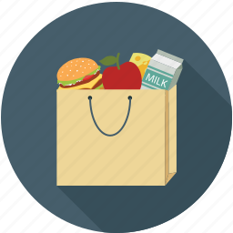 apple, bag, burger, fruits, milk, shopping icon