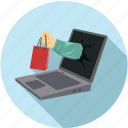 home delivery, laptop and shopping, laptop shopping, online shopping icon