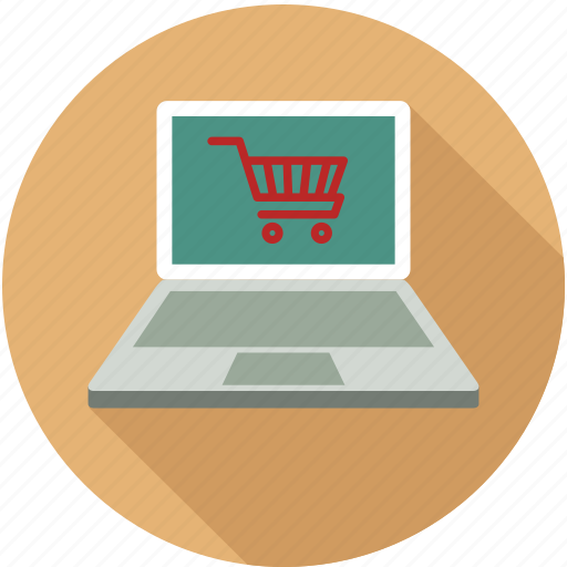 shopping, shopping cart and laptop, shopping on laptop icon