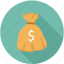 dollars in bag, money bag, money in bag icon