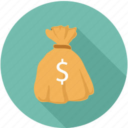 dollars in bag, money bag, money in bag icon