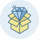 diamond, gift, parcel, shopping, box, cart, shop