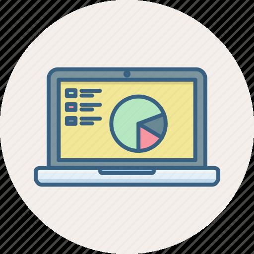 analysis, analytics, diagram, graph, laptop, presentation, screen icon