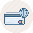 card, finance, global, globe, international, money, payment icon