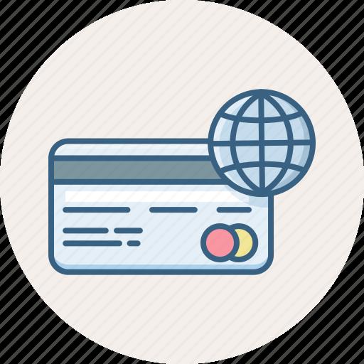 card, finance, global, globe, international, money, payment icon