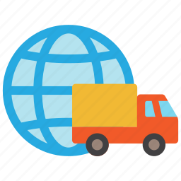 delivery, global, globe, international, shipping, transport, truck icon