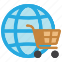 cart, ecommerce, global, globe, online, shop, shopping icon