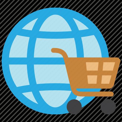 cart, ecommerce, global, globe, online, shop, shopping icon