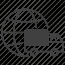 deliver, deliverer, delivery, global, globe, shipping, transport icon