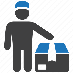 box, courier, deliverer, delivery, man, package, shipping icon