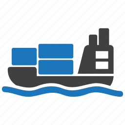 boat, cargo, parcel, sea, ship, transport, vessel icon