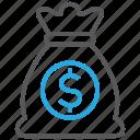 bag, money, cash, currency, dollar, profit, turnover