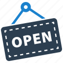 open, shop, sign, store icon