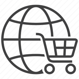 buy, cart, ecommerce, global, globe, shop, shopping icon