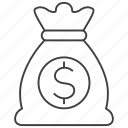 bag, cash, currency, dollar, finance, money, money bag icon