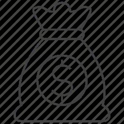 bag, cash, currency, dollar, finance, money, money bag icon