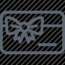 card, gift, money, present, ribbon, shop, shopping icon