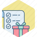 check, checklist, gift, items, list, shopping, tick icon