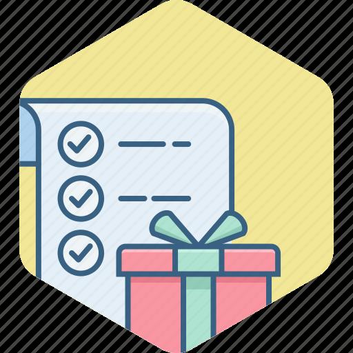 check, checklist, gift, items, list, shopping, tick icon
