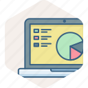 analytics, chart, graph, laptop, ppt, presentation icon