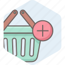 add, basket, cart, commerce, ecommerce, online, shopping icon