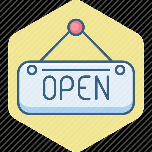 board, open, shop, sign, store icon