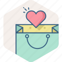 add, bag, heart, sale, shopping, wishlist icon