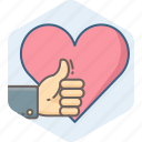 favorite, heart, like, sign, thumb, thumbs up icon