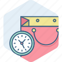 commerce, duration, ecommerce, sale, shopping, time icon