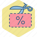 cut, cutting, scissor, voucher icon