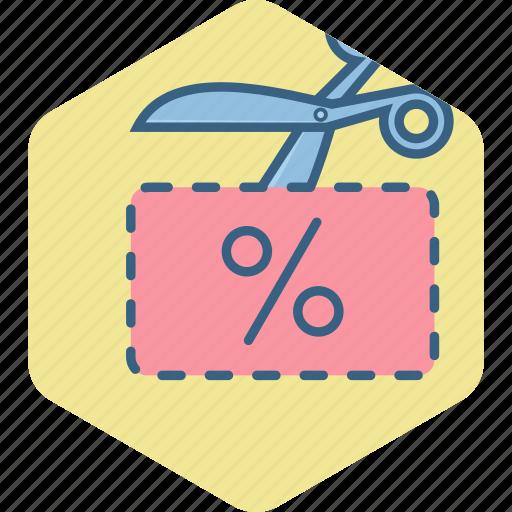 cut, cutting, scissor, voucher icon