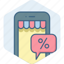 app, application, discount, mobile, percent, sale icon