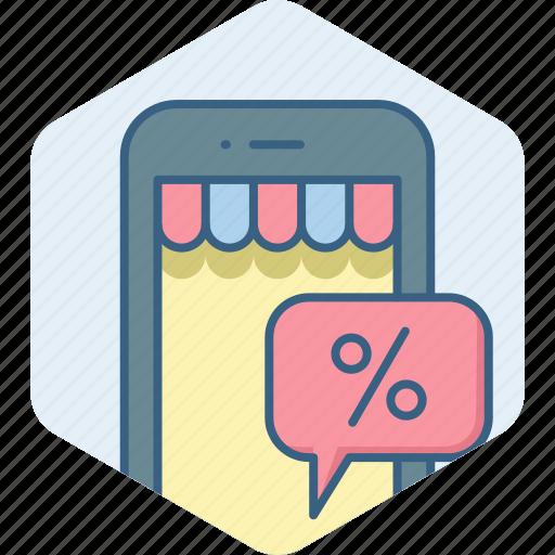 app, application, discount, mobile, percent, sale icon