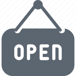 hang, hanger, open, sign, tag icon