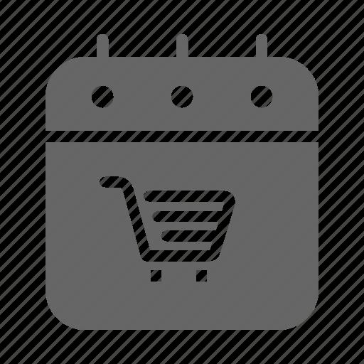 calendar, cart, event, purchase, shopping icon