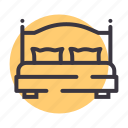 bed, cot, furniture, pillow, sleep, sleeping icon