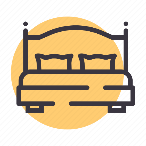 bed, cot, furniture, pillow, sleep, sleeping icon