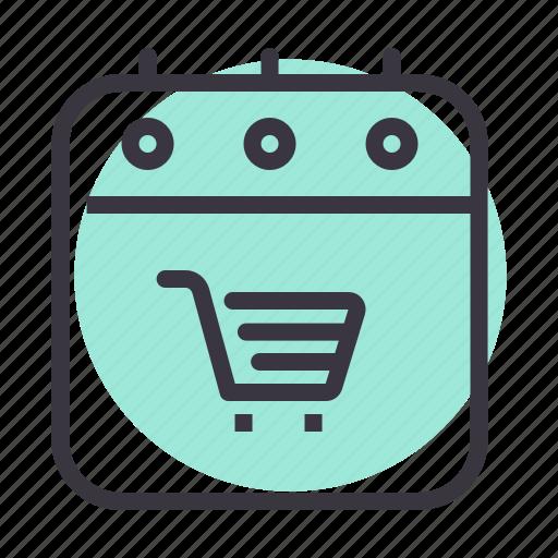 black friday, calendar, cart, event, purchase, shopping icon