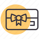 bow, card, coupon, gift, loyalty, shop, shopping icon