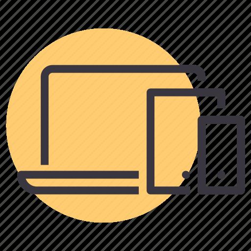 computer, ipad, iphone, laptop, responsive, smartphone, tablet icon