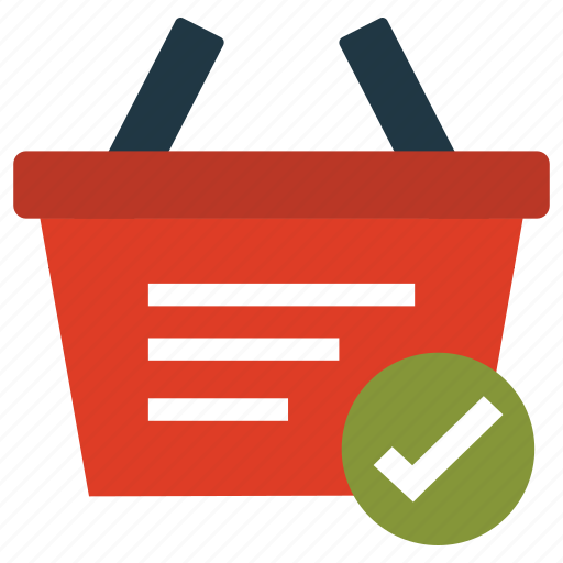 basket, business, cart, checked, shopping icon