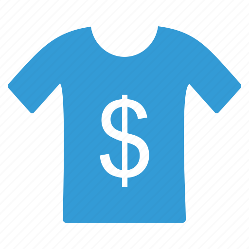 blue, business, dollar, shirt, shopping, t icon