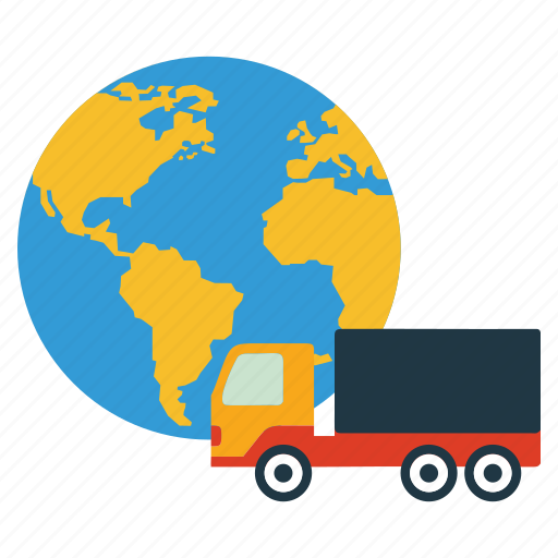 business, export, import, shopping, world icon