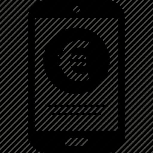 cell, euro, mobile, money icon