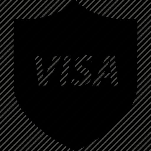 business, shield, visa icon